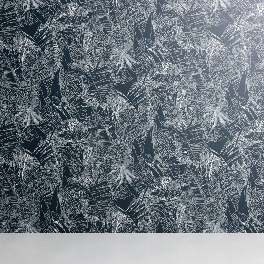 Tropical wallpaper - Petite Friture white on ink