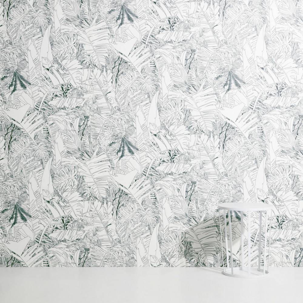 Jungle wallpaper ink on white - Petite Friture