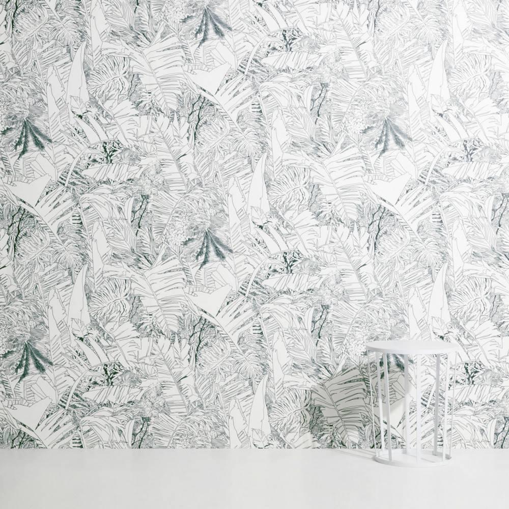 Jungle wallpaper ink on white - Petite Friture