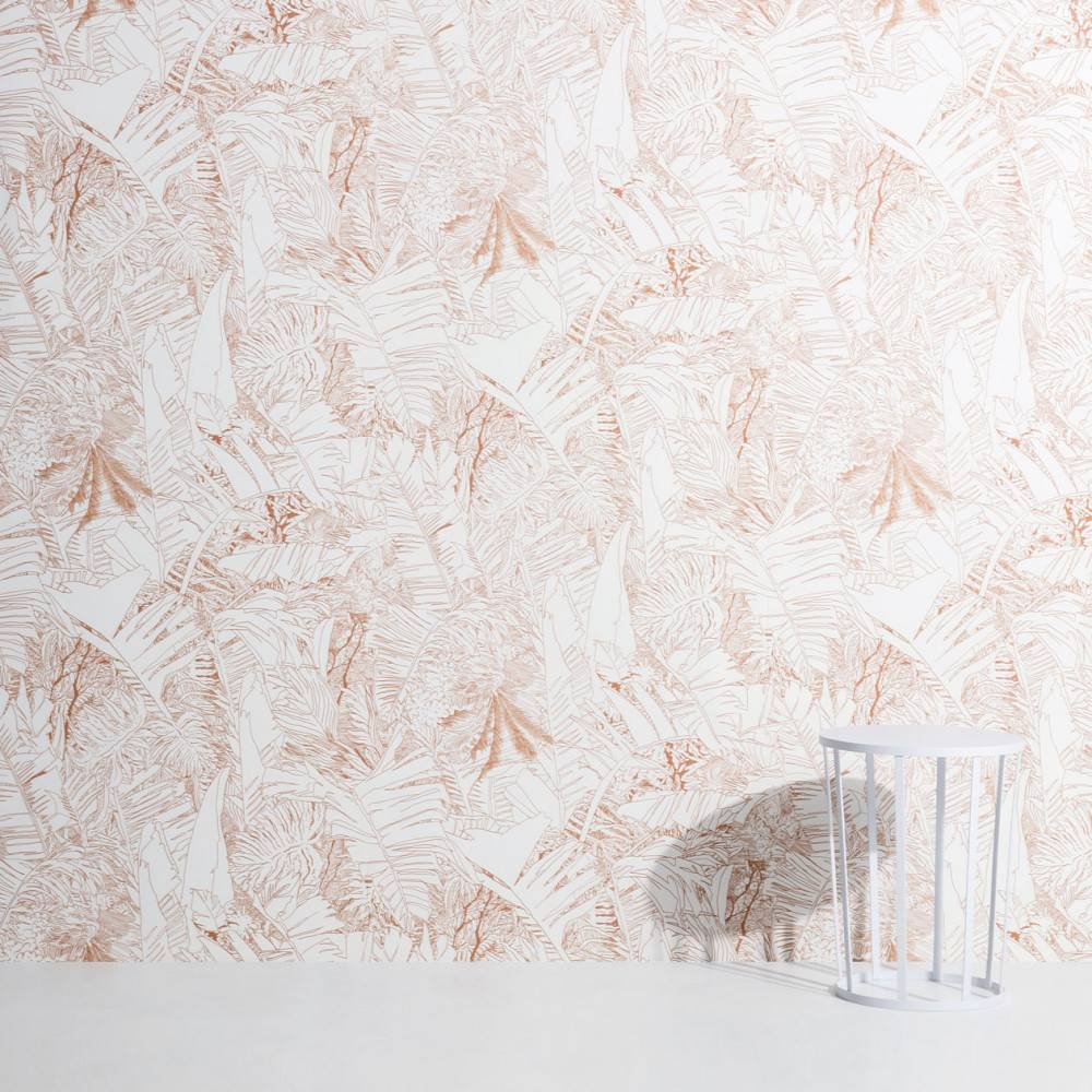 Papier peint tropical cuivre sur blanc - Petite Friture
