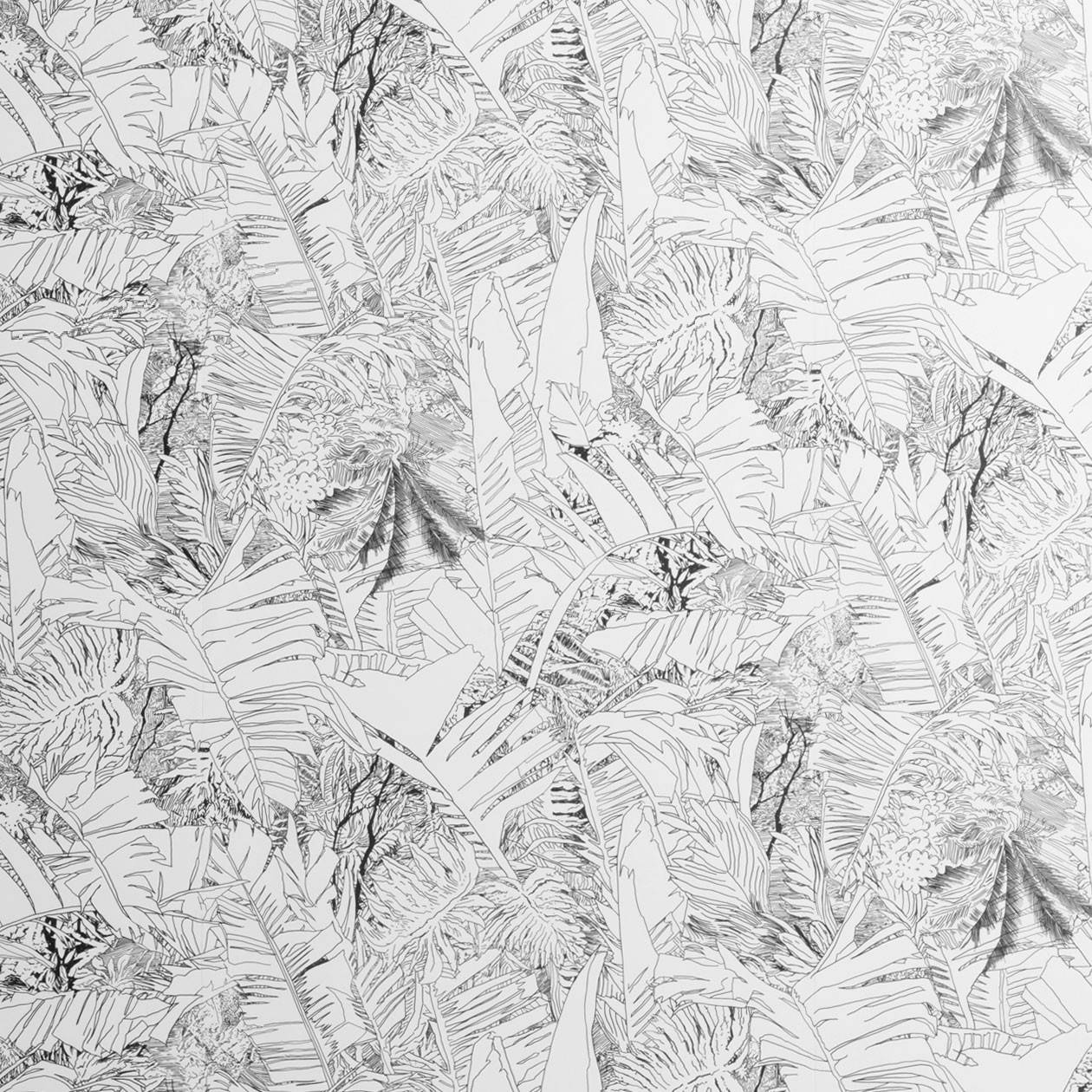 Jungle wallpaer black on white - Petite Friture