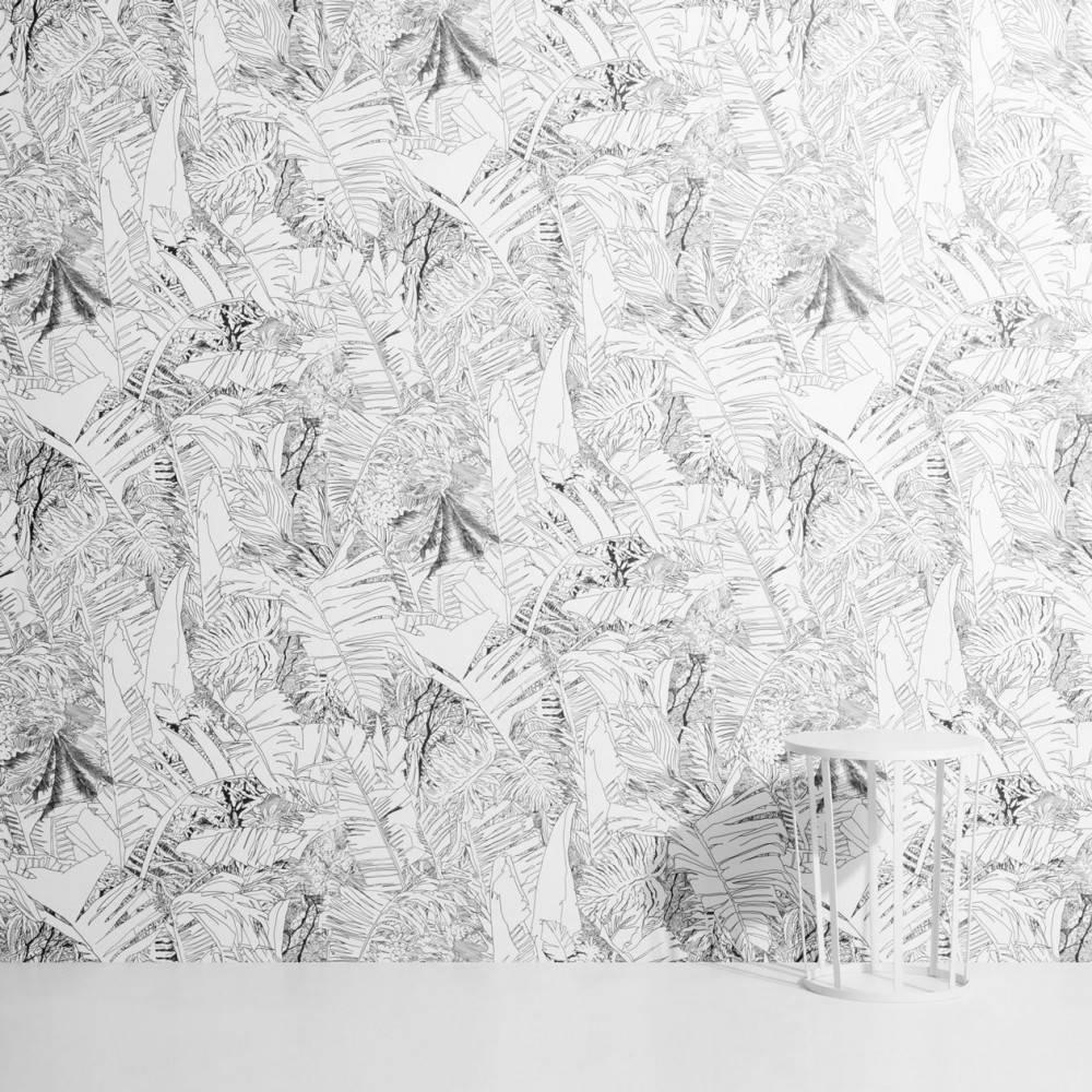 Papier peint tropical noir et blanc - Petite Friture