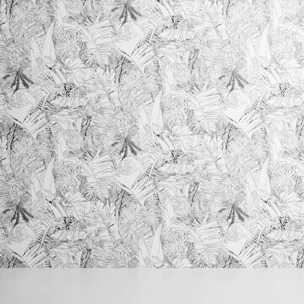 Papier-peint jungle noir sur blanc - Tiphaine de Bodman pour Petite Friture
