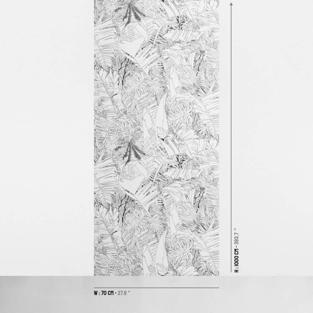 Papier-peint jungle noir sur encre - dimensions - Petite Friture