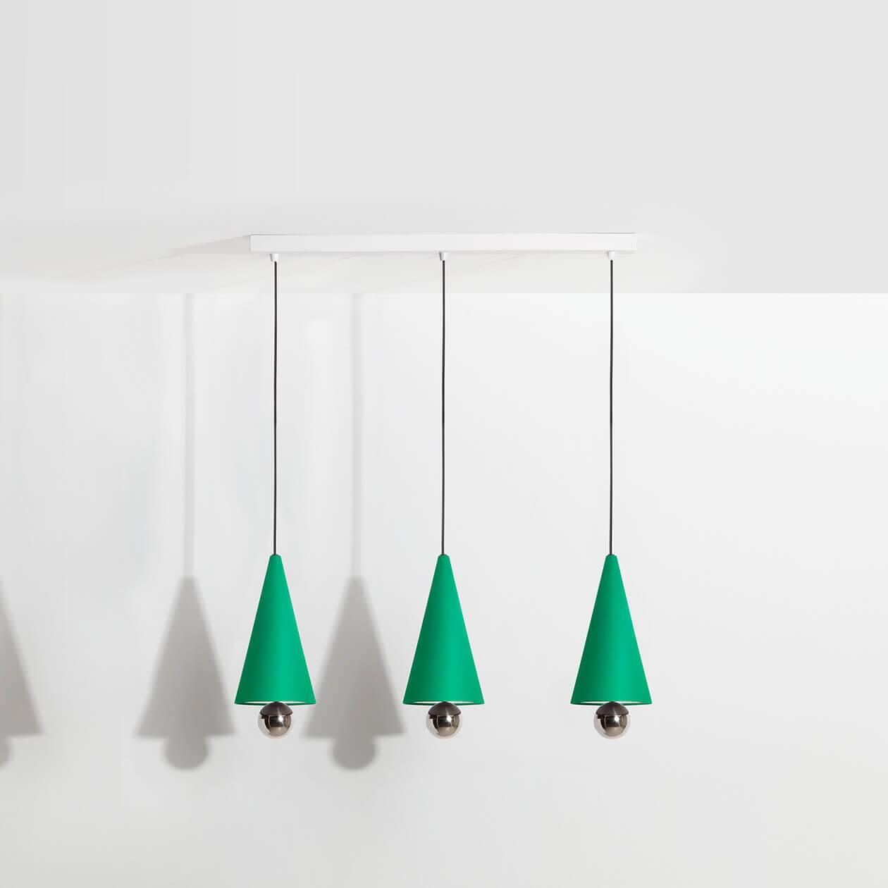 Pendant-system-3-pendants-Cherry-LED-green-Petite-Friture