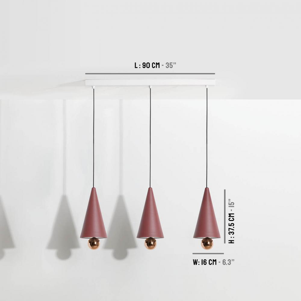 Suspension-moderne-3-pendants-Cherry-LED-brun-rouge-Petite-Friture-dimensions