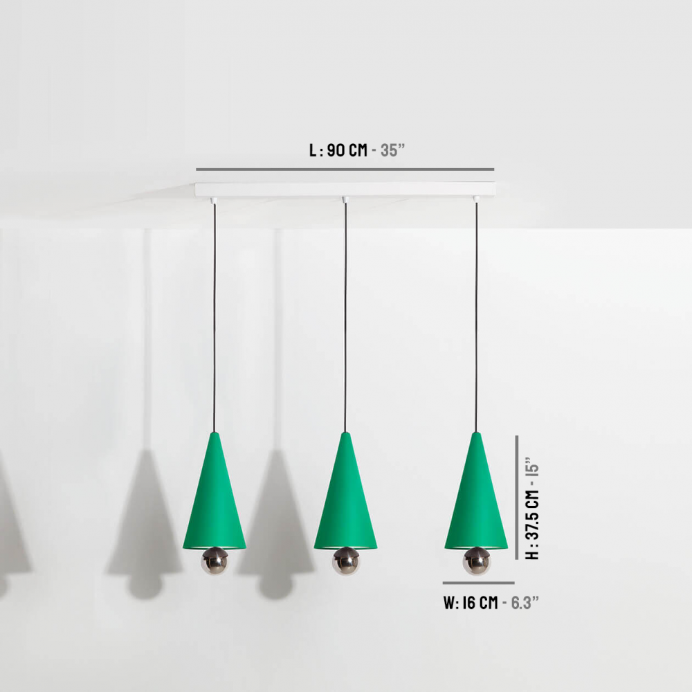 Suspension-moderne-3-pendants-Cherry-LED-vert-Petite-Friture-dimensions