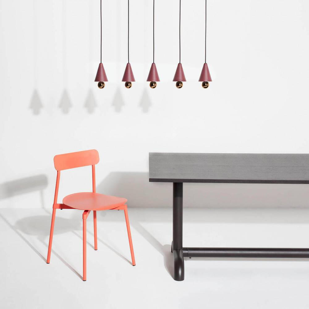 Multiproducts-pendant-system-5-pendants-Cherry-LED-brown-red-Petite-Friture