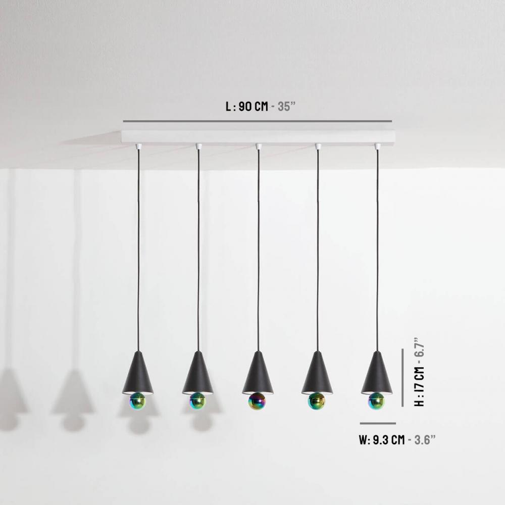 Pendant-system-5-pendants-Cherry-LED-black-Petite-Friture-dimensions