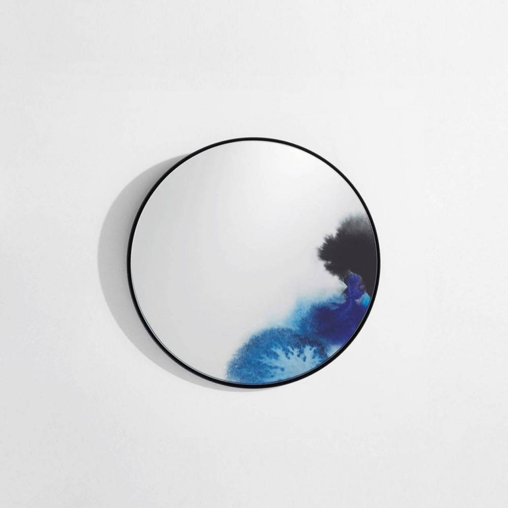 Petit miroir mural design Francis - aquarelle bleue