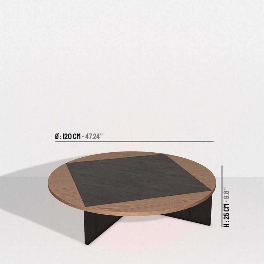 Table basse bois et noire Tavla - dimensions - Petite Friture