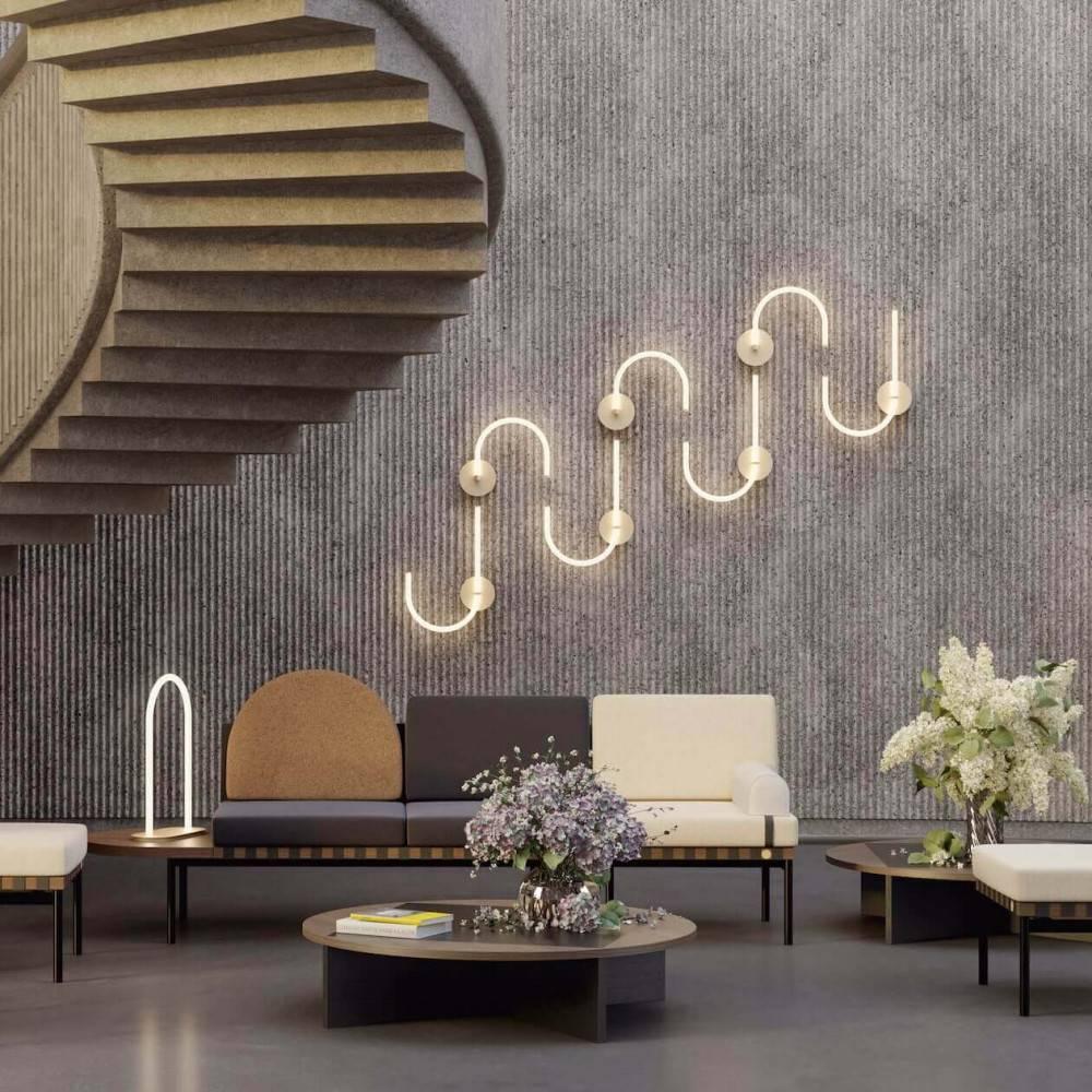 Table basse bois design - hall d'hôtel - Petite Friture